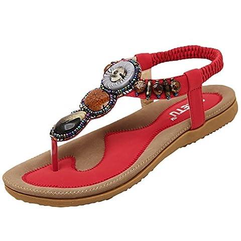Minetom Women Girls Summer Sandals Bohemian Rhinestones Embellishment Shoes Red