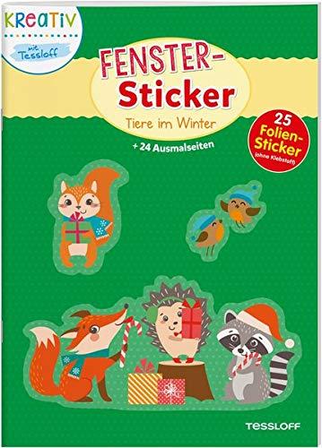 Fenster-Sticker Tiere im Winter: 24 Ausmalseiten und 30 Folien-Sticker