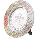 MagiDeal 10 Pieces Retro Map Picture Photo Frames Kids Boys Girls Birthday Wedding Party Table Round Place Cards Holders