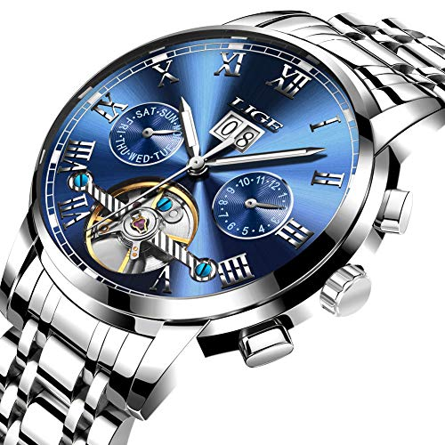 LIGE Herren Wasserdicht Automatische Mechanische Mode Skelett Tourbillon Uhr mit Edelstahl Armband LG9813F Silber Blau