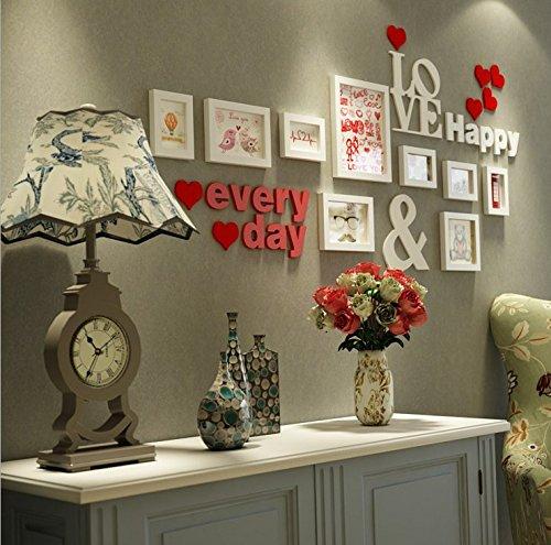 HJKY Photo Frame Wall Set Kreative Wohnzimmer Wand Dekoration Aufkleber Paare Zimmer wallpaper Poster Schlafzimmer Selbstklebend 3D Wand-zu-Wand weiß + alpha-Verkleidung