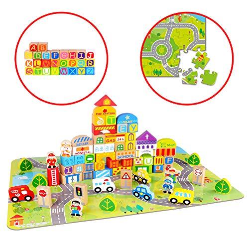 Tooky Toy bunte Holzbausteine, 100 Teile, Holzklötze Stadt-Leben - inkl. Alphabet, Puzzle Spielmatte & Aufbewahrungsbox - Spielzeug für Kleinkinder