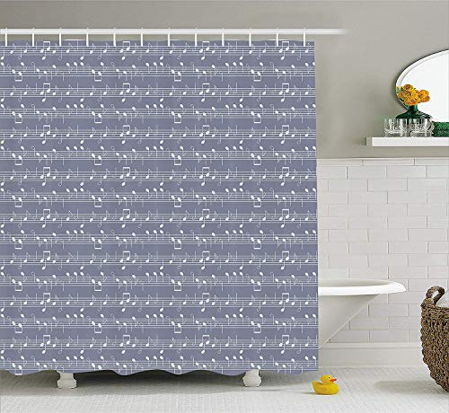 Jolly2T Grey Decor Shower Curtain, Piano Music Clay Motif with Various Notes Symbols Beat Melody Rhythm Harmony Jazz, Fabric Bathroom Decor Set with Hooks, 60x72 Inches, Ash White