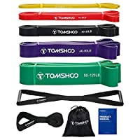 TOMSHOO 5 Packs Pull Up Assist Bands Set Resistance Loop Powerlifting Exercise Stretch Bands