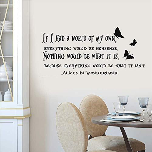 (Wandaufkleber Kinderzimmer Wandtattoo Kinderzimmer Art Decor If i Had a World Alice in Wonderland Quote for kids rooms living)