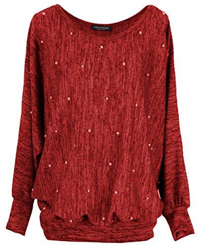 Emma & giovanni - oversize maglie con perle a manica 7/8 lunga - donna (rosso, m-l)