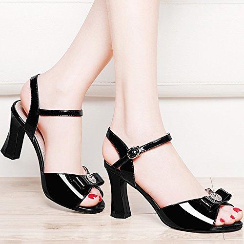 7e89ecad2f KPHY-Una Hebilla Zapatos De Tacon Alto Hembra Verano Zapatos Sandalias Todo  El Partido Con Boca Grueso Treinta Y Cuatro Blanco