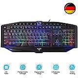 TOPELEK Tastaturen, Gaming Tastatur, Beleuchtete USB Tastatur Kabelgebunden Tastatur Mit 7 Farbigen Beleuchtung QWERTZ Deutsch Layout Tastatur (19 Anti-Ghosting & 14 Multimediatasten)
