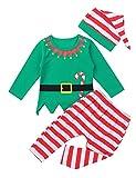inlzdz Baby Jungen Mädchen Weihnachtself Kostüm Langarm Shirt mit Gestreift Hose, Weihnachtsmütze Schlafanzug Pyjama Set Cosplay Weihnachten Kostüm Grün 80-86