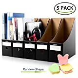 HINATAA Range-revues,5 PCS Kraft Fichier Boîte De Stockage Files Folder,Storage Box with Post-it Note,Rack de Stockage de Fichiers Magazine (Noir)