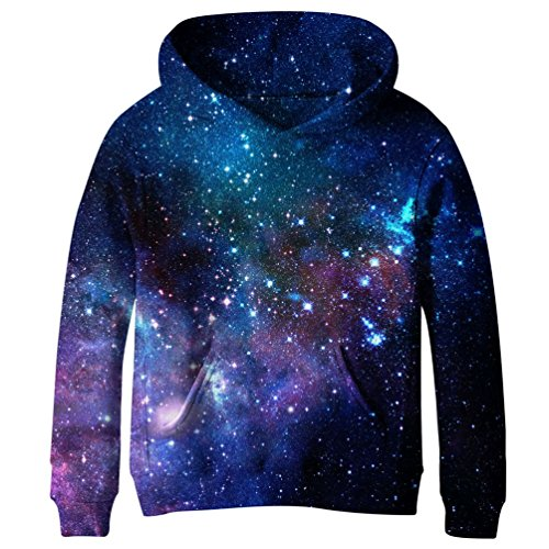 Euro Sky Boys Girls Kids Blue Galaxy Pockets Sweatshirts Hooded Hoodies NO18 L