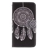 Galaxy S5 Mini Hülle, Conber Lederhülle Handyhülle mit [Frei Schutzfolie], PU Tasche Leder Flip Case Cover Schwarze Serie Schutzhülle für Samsung Galaxy S5 Mini - Coole Windglocke