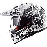 LS2 MX436 Pioneer Chaos Doppel Sonnenblende Motocross Motorrad Helm - Weiß Schwarz XXS (51-52cm)