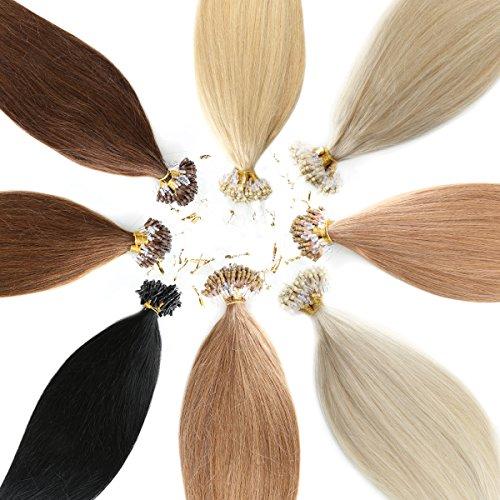 Microring Echthaar / Loop Extensions 100% Remy Echthaar Haarverlängerung (#60 WEISSBLOND - 25 x Strähnen - 1g - 50cm)