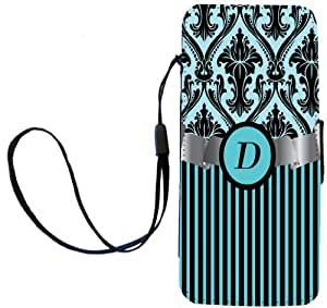 """Rikki Knight Letter """"D"""" Initial Sky Blue Damask and Stripes Monogrammed Flip Wallet iPhoneCase with Magnetic Flap for iPhone 5/5s - Sky Blue"""
