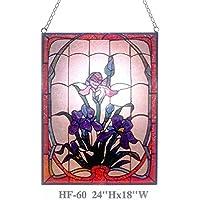"Gweat HF-60 Tiffany Style vitral Royal Luxury Floral Rectángulo Window Hanging Glass Panel Sun Catcher, 24"" Hx18 W"