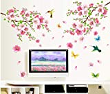 verkaufen Sakura Blumen Wandaufkleber TV Hintergrund Raumdekorationen. diy abziehbilder entfernbares wandbild kunstdruck poster 140 * 152cm