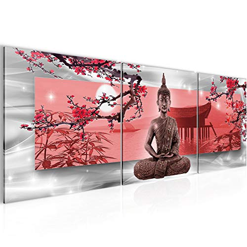 Tableau decoration murale Bouddha Feng Shui 120 x 40 cm XXL Impression sur Toile Salon Appartment Rouge 3 Parties - prêt à accrocher 504933a