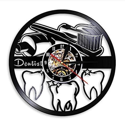 Schallplatte Wanduhr Zahnbürste und Zahnpasta Mundhygiene moderne Badezimmer Zeichen Wanduhr Zahnarzt Schallplatte Wanduhr mit 7 Farbvariationen Zahnkrankenschwester Zahnarzt Geschenk cjdn1080
