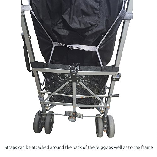 SnoozeShade Plus – sunshade and sleep aid for pushchairs and strollers (steel grey trim) – universal fit and blocks up to 99% of UV (6-9m+)
