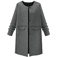 SUCES Damen Wollmantel Winter Rundhals Trenchcoat Frauen Warme Dünne Dick Lang Mantel Knopf Tasche Klassisch Einfarbig Winterjacke