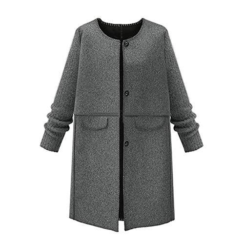 Geili Damen Wolle Mantel Strickjacke Wintermantel Lange Elegante Tweed Mantel Frauen Übergrößen Warme Winter Jacken Knöpfen Parka Jacke Wolljacke Übergangsjacke XL-5XL - Tweed Wolle Strickjacke