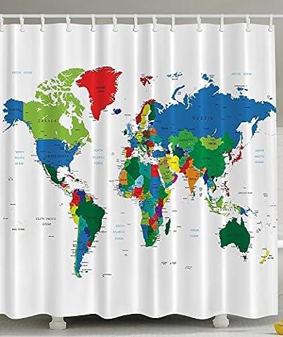 BBFhome Rideaux de douche Rideau 120 X 180 CM carte du monde Geologist cadeaux éducatifs géographiques Terre Voyage Voyager Home Designer Accessoires Bath tissu nouveauté moderne de qualité Vert Bleu Rouge Blanc