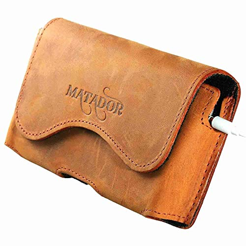 MATADOR Lederhülle Ledertasche Ledercase Handytasche Gürteltasche kompatibel mit iPhone 5 5S 5C SE Rost Hellbraun