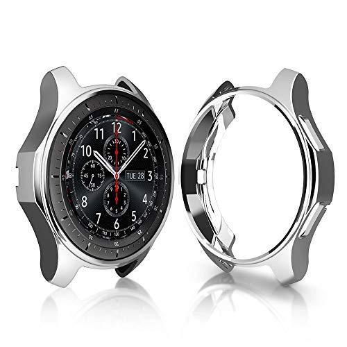 Ruentech Schutzgehäuse für Gear S3 Frontier, SM-R760, galvanisiertes Gehäuse mit Fallschutz, stoßdämpfende Schutzhülle für Gear S3 Smartwatch, silber