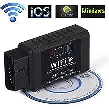 iNNEXT OBDII - Herramienta de análisis y escáner, Mini WiFi Wireless OBD-II Mini ELM327 OBD2para coche, lector adaptador para iPhone y cualquier dispositivo iOS, Android o Windows