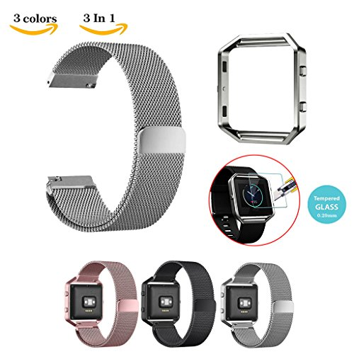 chok-idee-ersatz-armband-fur-fitbit-blaze-mit-2-x-displayschutz-aus-hartglas-gehause-mit-metallrahme