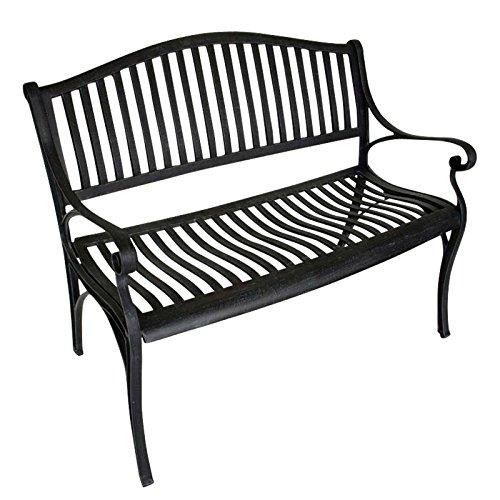 Gartenbank NAPOLI 2-Sitzer, wetterfester Aluguss, Farbton: antik grau