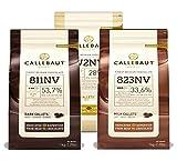 Callebaut, Milk, Dark & White chocolate chips (3 x 1kg...