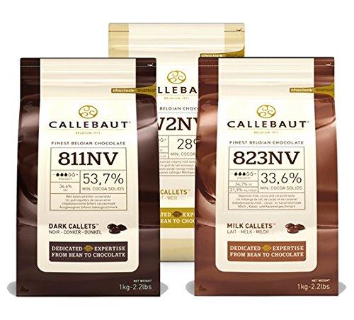 Callebaut, Milk, Dark & White chocolate chips (3 x 1kg Bundle)