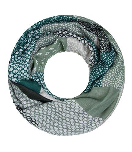 Majea NEUE Saison Damen Loop Schal viele Farben Muster Schlauchschal Halstuch in aktuellen Trendfarben (pinie 6) (Grün Schal)