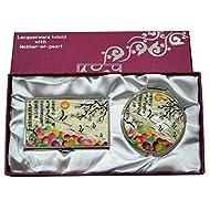 Mère de perle blanc perle UME & GRUE conception Loupe Double miroir compact de maquillage avec porte carte crédit Nom de Visite de Gravure Fine en acier inoxydable d'argent cas