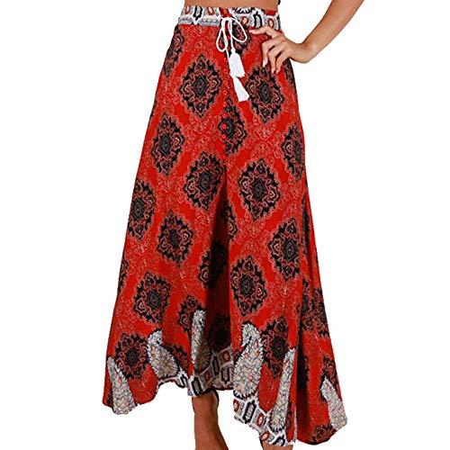 FRAUIT Sommer Damen Lange Böhmischen Hohe Taille Rock Verband Button Strand Print Maxi Rock Hippie-Rock der Frauen Boho kleidet Elefant eine Größe asymmetrischen Saum-Entwurf -