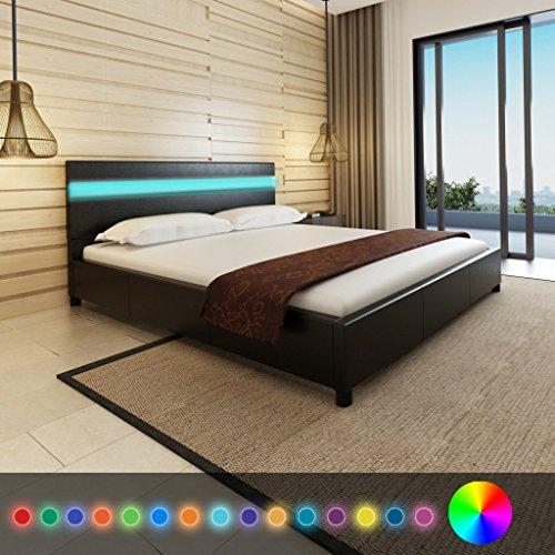 Anself Doppelbett Bett Ehebett Gästebett mit LED-Licht 180x200cm ohne Matratze Schwarz