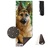 Roue Yoga Mat Non Slip German Shepherd Dogs Printed 24 X 71 Inches Premium for Fitness Exercise Pilates with Carrying Strap