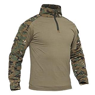 TACVASEN Jagd Shirt Herren Angeln Camouflage Shirt Herren Tarnungs Shirt Army Langarm Tshirt Baumwolle Basic T-Shirt Berg Wandern Hemd Leichte Weiche Shirts