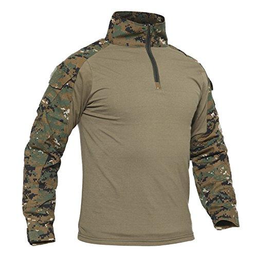 TACVASEN Klettern Shirt Herren Baumwoll Camo Hemd Climbing Kampf Paintball T Shirt Long Sleeve Tshirt Camouflage Digital