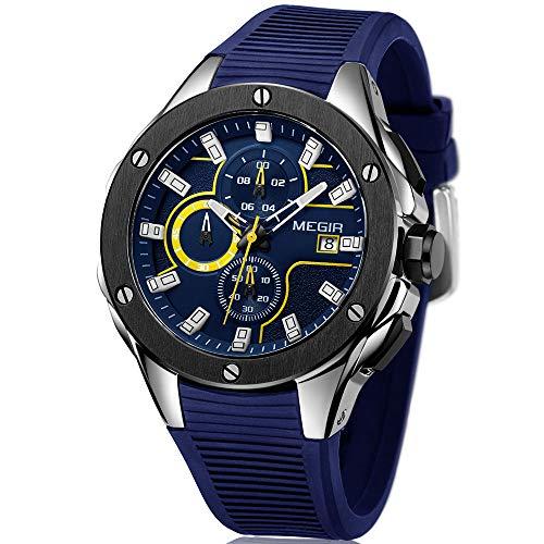 MEGIR Sport Herren Uhren Chronograph und Leuchtend mit Blau Silikonarmband Wasserdicht Quarz Uhr für Männer