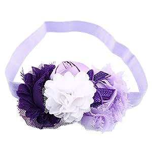 Itaar® Carina Fascia dei Capelli per Bambina Neonata Fiori Cravatta a Farfalla Paillette Principessa 6 Stili da Scegliere (Viola+ Viola Chiaro)
