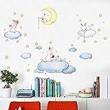 Cartoon blanc nuages lapin Stickers muraux pour enfants chambres bébé chambre à coucher Wereldkaart Home Decor lune et les étoiles Stickers muraux