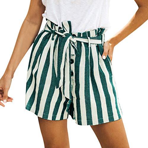 Deep lovly Frauen Gestreifte Shorts Damen-Shorts mit sommerlichen Druckknöpfen aus Baumwolle und Leinen Sommer Spitze Shorts