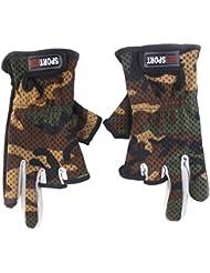 1 Par Guantes De Pesca De Camuflaje Antideslizante Fricción Palm 3 Dedos De Corte Bajo