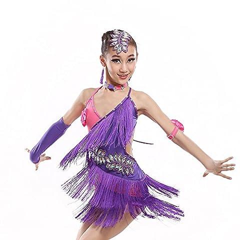 Saloon Fille Costume Violet - Danse latine haut de gamme jupe hot