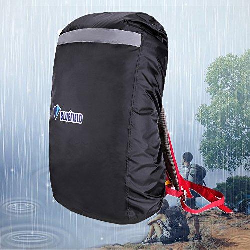 JTENG Regenschutz Rucksack Cover Regenhüllen Regenabdeckung Wasserdichter für Camping Wandern und andere Outdoor Aktivitäten schwarz (schwarz, L)