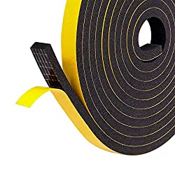 Fowong Weather Stripping 12mm(W) x 6mm(T) Gasket Seal Foam Tape for Door Window Anti-Collision Shockproof Furniture Protective, 2 Pcs Total 8M Long