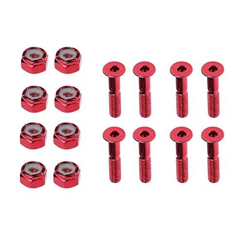 Homyl 8 Pcs de Tornillos con Tuercas de Longboard Suministros de Deportes Multiusos Recambio Repuesto - rojo